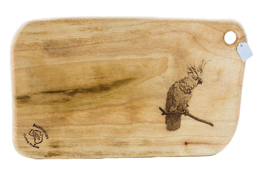 Sulphur Crested Cockatoo cutting board.